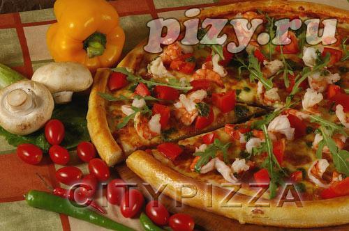 """Пицца """"С тигровыми креветками"""" от """"CITY pizza"""", Москва"""