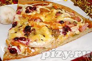 Рецепт пиццы с грибами, перцем и клюквой