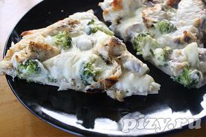 Рецепт пиццы с соусом Альфредо и курицей