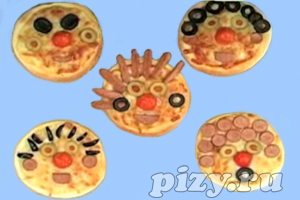 Видео-рецепт детской пиццы Мордашки